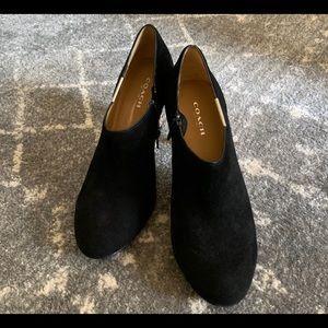 Coach Women's Seneca Black Suede Leather Booties